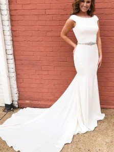 Charming Mermaid Scoop Elastin Satin White Long Prom Dresses with Train, Formal Evening Dresses with Beading