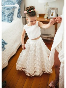Princess A Line Scoop Two Piece White Lace Flower Girl Dresses