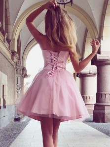 Cute A Line Sweetheart Tulle Pink Short Homecoming Dresses Under 100, Short Prom Dresses