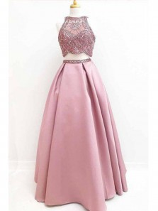 Elegant A Line Two Piece Round Neck Satin Blush Pink Long Prom Dresses with Beading, Formal Evening Dresses