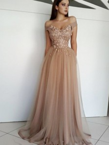 Elegant A Line Sweetheart Tulle Brown Long Prom Dresses with Appliques, Formal Evening Dresses PD0730006