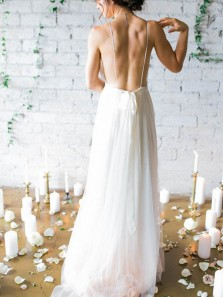 Fairy A Line V Neck Open Back Chiffon Ivory Long Wedding Dresses with Train, Beach Wedding Dresses