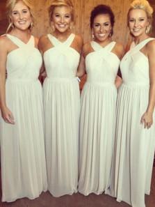 Elegant A Line Halter Chiffon White Chiffon Bridesmaid Dresses Under 100
