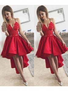 Cute A Line V Neck Spaghetti Straps Satin Red High Low Homecoming Dresses with Lace, Formal Prom Dresses HD0730003