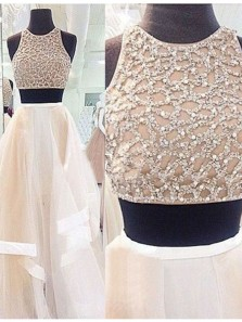 Charming A Line Round Neck Champagne and White Long Prom Dresses with Beading, Formal Evening Dresses, Long Homecoming Dresses PD0730006