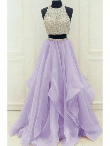 Fairy A Line Two Piece Round Neck Organza Lavender Long Prom Dresses with Beading, Quinceanera Dresses, Graduation Dresses PD0730007