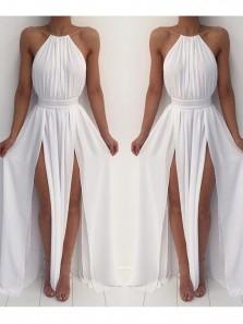 Simple A Line Halter Open Back High Slit Chiffon White Long Prom Dresses, Summer Dresses