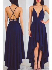Charming A Line V Neck Spaghetti Straps Chiffon High Low Navy Prom Dresses, Summer Dresses Under 100