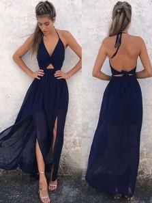 Boho A Line V Neck Backless Slit Chiffon Navy Long Prom Dresses Under 100, Beach Dresses, Summer Dresses PD0730009