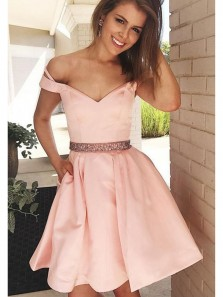 Charming A Line Off the Shoulder Beaded Pink Short Homecoming Dresses with Pocket, Formal Short Prom Dresses