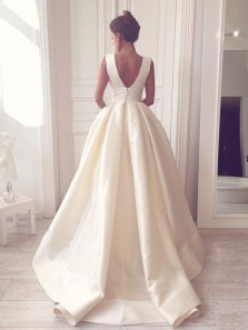 Ball Gown V Neck Open Back Satin Ivory Wedding Dresses with Pockets WD0731002