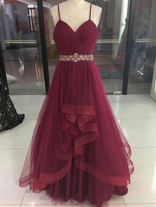 Elegant A Line V Neck Spaghetti Straps Tulle Burgundy Long Prom Dresses with Beading, Formal Evening Dresses