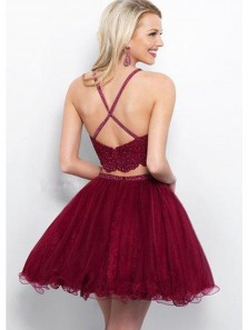 Cute A Line Two Piece Halter Open Back Appliques Burgundy Short Homecoming Dresses with Beading, Short Prom Dresses