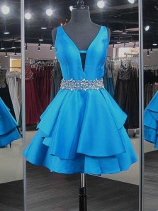 Cute A Line V Neck Open Back Satin Blue Short Homecoming Dresses with Beading, Short Prom Dresses