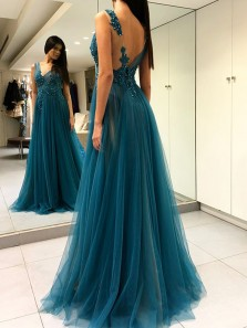 Charming A Line V Neck Open Back Tulle Beaded Green Long Prom Dresses with Appliques, Elegant Formal Evening Dresses