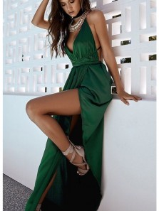 Charming V Neck Halter Open Back Elastic Satin High Slit Dark Green Long Prom Dresses with Pearls, Summer Dresses, Evening Dresses