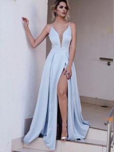 Charming A Line V Neck Cross Back High Slit Light Blue Satin Long Prom Dresses with Train, Formal Evening Dresses