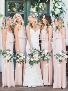 Fashion Elegant Sheath Peach Chiffon Long Bridesmaid Dresses Under 100, Simple Bridesmaid Dresses BD0731001