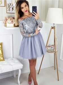 Cute A Line Off the Shoulder Light Grey Long Sleeve Short Homecoming Dresses with Appliques, Formal Short Prom Dresses