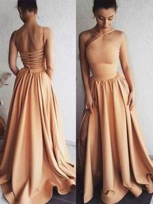 Simple A Line Halter Open Back Elastic Satin Long Prom Dresses, Charming Evening Dresses PD0731008