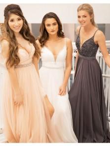 Charming A Line Slit V Neck Open Back Chiffon White Long Prom Dresses with Beading, Elegant Formal Evening Dresses,Quinceanera Dresses