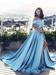 Charming Ball Gown Off the Shoulder Open Back High Slit Satin Blue Long Prom Dresses with Train, Formal Evening Dresses