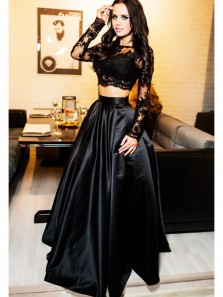 Charming A Line Two Piece Round Neck Long Sleeve Lace Black Long Prom Dresses with Beading, Formal Evening Dresses