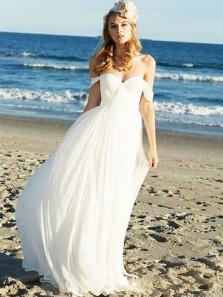 A Line Sweetheart Chiffon White Simple Long Wedding Dresses, Beach Wedding Dresses WD0731003
