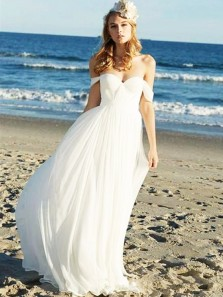A Line Sweetheart Chiffon White Simple Long Wedding Dresses, Beach Wedding Dresses WD0731003