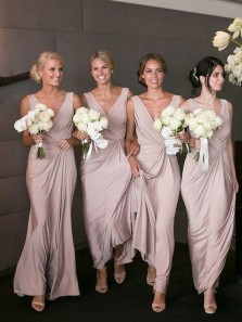 Fashion Simple Sheath V Neck Open Back Blush Long Bridesmaid Dresses Under 100 BD0731005