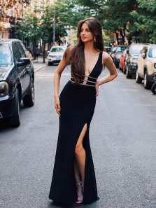 Charming Mermaid Slit V Neck Open Back Elastic Satin Black Long Prom Dresses with Beading, Elegant Formal Evening Dresses