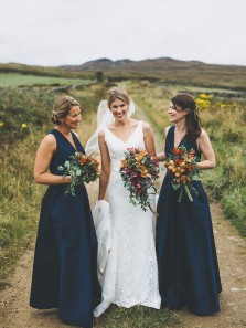 Elegant A Line V Neck Open Back Satin Navy Bridesmaid Dresses with Pockets, Free Custom Made Bridesmaid Gowns