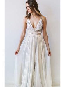 Charming A Line V Neck Open Back Chiffon Ivory Lace Wedding Dresses