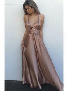 Charming A Line V Neck Open Back Elastic Satin Long Prom Dresses