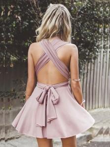 Charming A Line V Neck Open Back Blush Elastic Short Homecoming Dresses, Short Prom Dresses Under 100