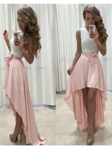 Charming A Line Round Neck Lace White and Pink High Low Homecoming Dresses, Formal Prom Dresses HD0801001