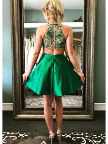 Green A Line Round Neck Satin Green Open Back Short Homecoming Dresses with Beading, Short Prom Dresses HD0801003