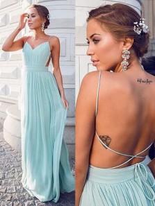 Charming Sheath V Neck Open Back Chiffon Mint Long Prom Dresses Under 100, Simple Summer Dresses PD0801003