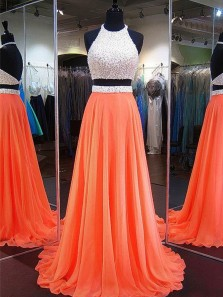 Elegant A Line Two Piece Halter Open Back Chiffon Orange Long Prom Dresses with Beading, Quinceanera Dresses