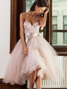 Charming A Line Sweetheart Tulle Light Blush Below Knee Homecoming Dresses, Quinceanera Dresses
