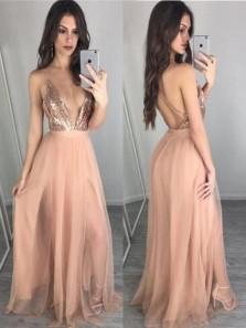 Charming A Line V Neck Open Back Chiffon & Sequins Slit Blush Long Prom Dresses, Sexy Evening Dresses