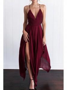 Charming A Line V Neck Open Back Chiffon Slit Burgundy Long Prom Dresses Under 100, Beach Dresses, Summer Dresses,