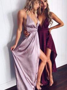 Charming V Neck Backless High Slit Purple and Burgundy Long Prom Dresses Under 100, Sexy Evening Dresses