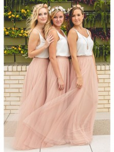 Simple Sheath O-Neck Open Back Tulle White and Blush Long Bridesmaid Dresses Under 100