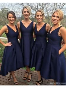 Elegant A Line V Neck Open Back Satin Navy Tea Length Bridesmaid Dresses with Pockets Under 100 BD0801004