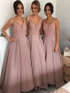 Gorgeous A Line V Neck Open Back Satin Blush Long Bridesmaid Dresses with Beading