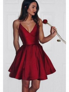 Cute A Line V Neck Open Back Satin Burgundy Short Homecoming Dresses with Pockets Under 100