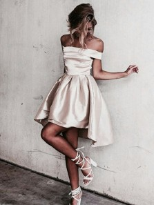 Charming A Line Off the Shoulder Satin Charming Short Homecoming Dresses with Pockets, Short Prom Dresses Under 100