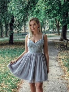 Cute A Line Sweetheart Straps Tulle Beaded Grey Short Homecoming Dresses with Appliques, Short Prom Dresses