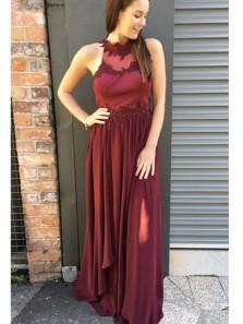 Elegant A Line Slit Halter Chiffon Burgundy Long Prom Dresses with Appliques, Formal Evening Dresses